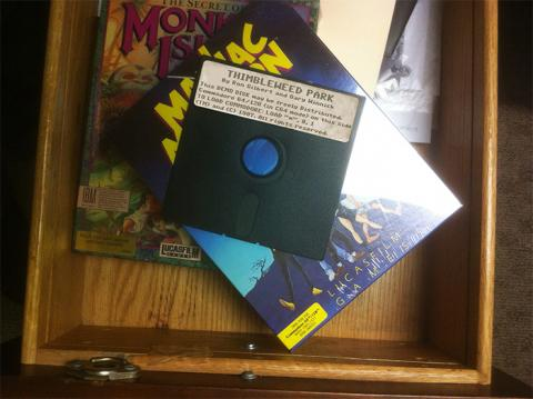 A dusty old desk drawer with an undiscovered Lucasfilm graphic adventure game